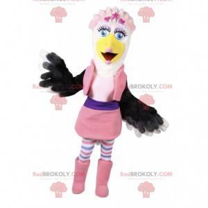 Maskottchen weiblicher Adler mit einem rosa Satz. -
