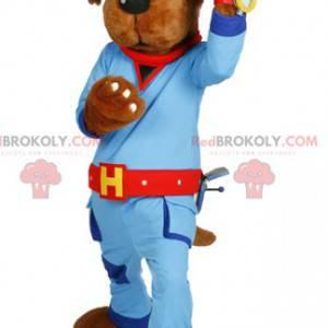 Dog mascot in blue work clothes. Dog costume - Redbrokoly.com