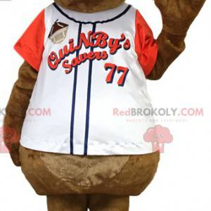 Brown rat mascot in a sports jersey. Rat costume -