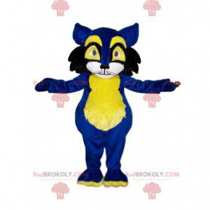 Blå og gul kat maskot. Kat kostume - Redbrokoly.com