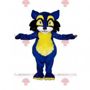 Blaues und gelbes Katzenmaskottchen. Katzenkostüm -