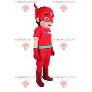 Mascote Flash, o herói super rápido. Fantasia flash -