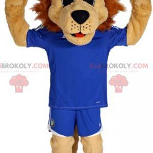 Maskot Lion v fotbalové vybavení. Lev kostým - Redbrokoly.com