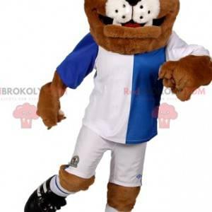 Bulldog-Maskottchen in Fußballausrüstung. Bulldogge Kostüm -