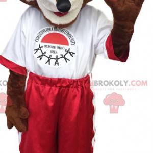 Mascotte volpe marrone in abbigliamento sportivo rosso e bianco