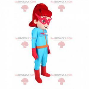 Gemaskerde superheldin mascotte in blauwe outfit -