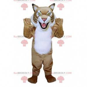 Maskot leopardí béžový a bílý tygr - Redbrokoly.com