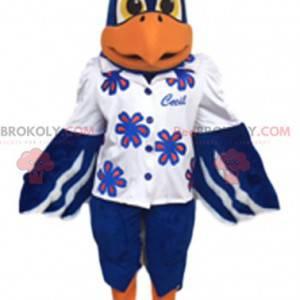 Mascot blue golden eagle in shirt. Golden eagle costume -