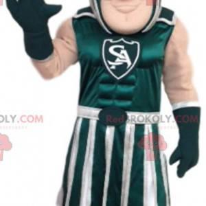 Mascota guerrera romana verde y blanca - Redbrokoly.com