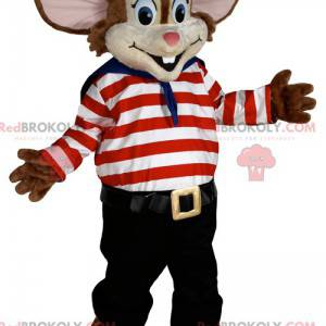 Malý maskot myši v kostýmu námořníka. - Redbrokoly.com
