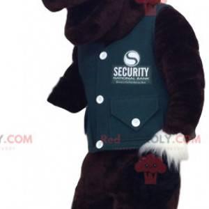 Mascote de veado marrom com um colete verde. Fantasia de cervo