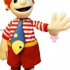 Little boy mascot dressed as a fisherman - Redbrokoly.com