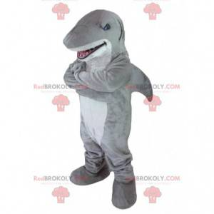 Grå og hvid haj maskot - Redbrokoly.com