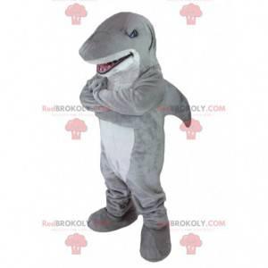 Mascote tubarão cinza e branco - Redbrokoly.com