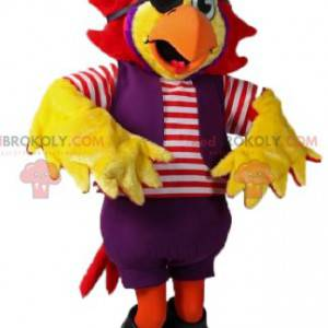 Maskot žlutý papoušek v pirátské oblečení - Redbrokoly.com