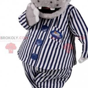 Grijze hyppotamus mascotte in gestreepte pyjama. -