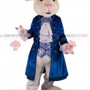 Mascota del conejo blanco con una chaqueta de terciopelo azul -