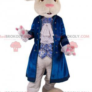 Weißes Kaninchenmaskottchen mit blauer Samtjacke -