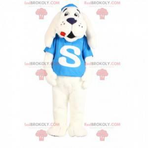 Maskot bílého psa s tyrkysovým dresem - Redbrokoly.com