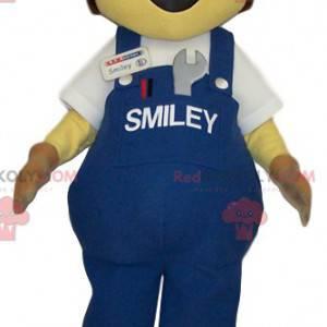 Snowman mascot overalls, jeans and cap - Redbrokoly.com