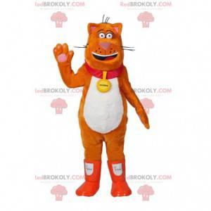 Mascote grande gato laranja. Fantasia de gato gordo -