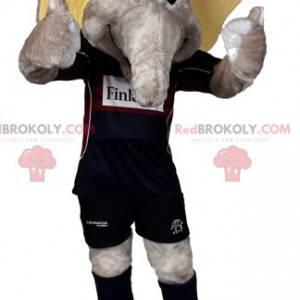Mascote elefante cinzento com equipamento de futebol -