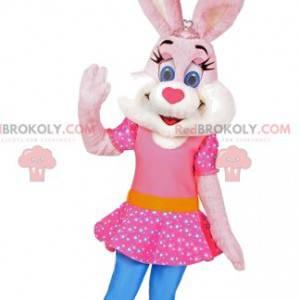 Rabbit mascot with a pink dress. Rabbit costume - Redbrokoly.com