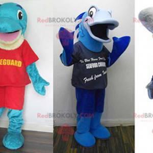 3 maskotter: en blå delfin, en blå fisk og en grå haj -