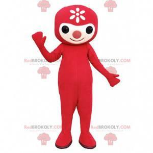 Maskottchen kleiner roter Mann mit einer niedlichen Nase -