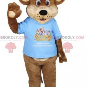 Maskotka niedźwiedź brunatny z niebieską koszulką. Kostium