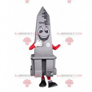 Maskot grå obelisk smilende. Obelisk kostyme - Redbrokoly.com