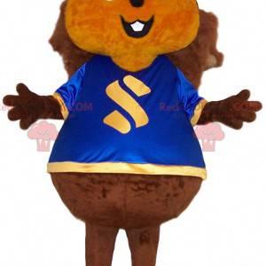 Esquilo gigante mascote com uma camisa azul - Redbrokoly.com