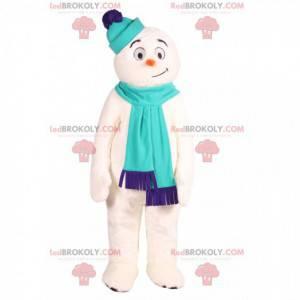 Mascota del muñeco de nieve con una bufanda azul. -