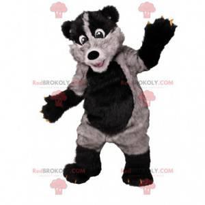 Super zábavný maskot černého a šedého medvěda. Medvědí kostým -