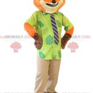 Terno e gravata do mascote da raposa vermelha. Fantasia de