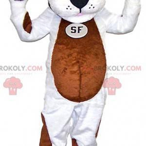 Maskot bílý pes s hnědými skvrnami. Kostým pro psa -