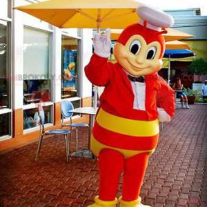 Mascotte rode en gele bijen vliegende insectenwesp -
