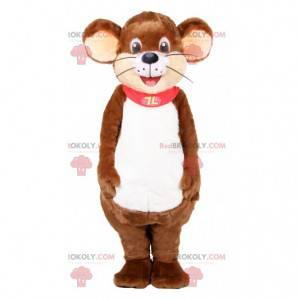 Mascotte del mouse marrone con un mantello rosso -