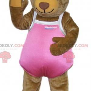 Maskot medvěd hnědý v růžových plavkách - Redbrokoly.com