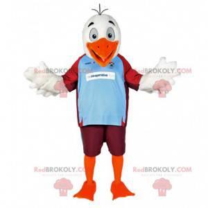 White eagle mascot in sportswear. Eagle costume - Redbrokoly.com