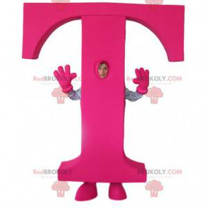 Maskot av bokstaven T i fuchsia - Redbrokoly.com