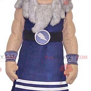 Mascota guerrera vikinga azul. Disfraz de guerrero -