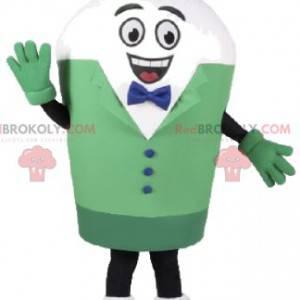 Maskot bílý sněhulák v zeleném kostýmu - Redbrokoly.com