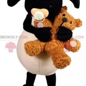 Maskot bílé a černé ovce s plyšovým medvědem - Redbrokoly.com