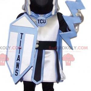 Black and white warrior mascot with a shield - Redbrokoly.com