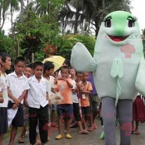 Obří zelené a bílé ryby maskot - Redbrokoly.com
