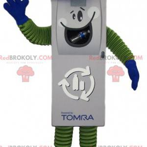 White remote control mascot with a blue cap - Redbrokoly.com