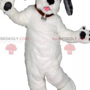 Maskot bílého psa s krásným červeným límcem - Redbrokoly.com