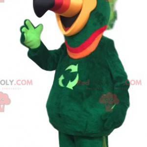 Grünes Papageienmaskottchen mit einem neongrünen Wappen -