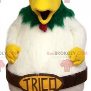 Grande mascotte di pollo bianco. Costume da pollo -